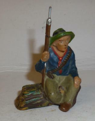 Elastolin Vintage Composition Wild West Cowboy Sitting On A Log With A Rifle