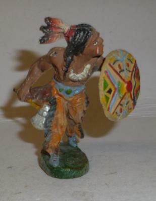 Elastolin Vintage Composition Wild West Indian Walking With Tomahawk & Shield