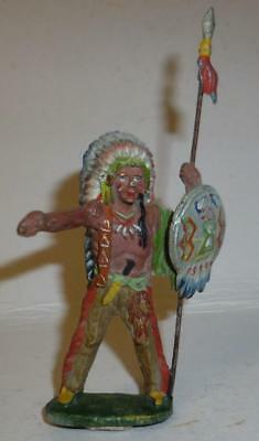Elastolin Vintage Composition Wild West Indian With Spear & Shield - 1930/50's
