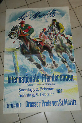 Belle Affiche Dessinee Saint-Moritz Course De Chevaux Internationale 1969 Signee