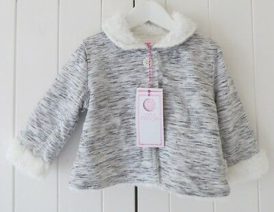 Pumpkin Patch Grey Marl Jersey Fluffy Lined Jacket Age 6-12 Months NEW