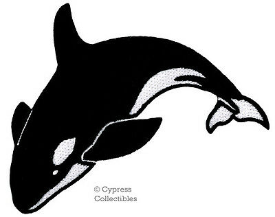 ORCA PATCH iron-on KILLER WHALE embroidered MAN-EATING BLACKFISH applique scuba