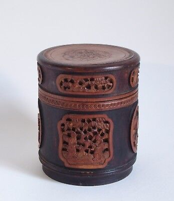 Fine antique Chinese bamboo carved tea caddy with cover c.1900