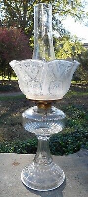 1890's Etched Gas Shade w/Antique Glass 'Triple Mold' Oil Lamp w/Chimney EXC!!!