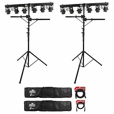 (2) Chauvet DJ 6SPOT Portable Powered Color Changer Systems+Bags+Stands+Cables