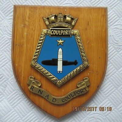 Vintage Wooden RNAD Coulport Wall Hanging Plaque Crest Mess Hall