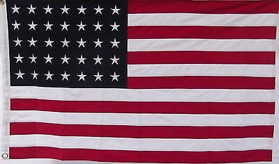 HEAVY COTTON 35 STAR AMERICAN FLAG - Embroidered & Sewn - HISTORICAL USA