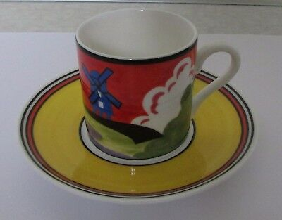 """Wedgwood Clarice Cliff """"windmill"""" Coffee Can & Saucer - Lovely"""