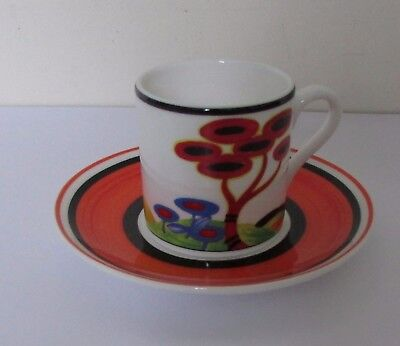 """Wedgwood Clarice Cliff """"red Tree"""" Coffee Can & Saucer - Lovely"""