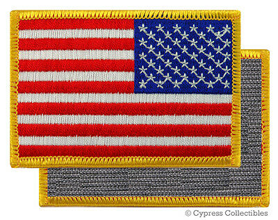 AMERICAN FLAG BIKER PATCH GOLD LEFT embroidered USA w/ VELCRO® Brand Fastener