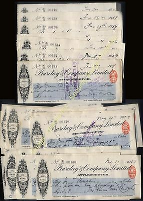 1909 ATTLEBOROUGH, Norfolk Barclay & Company Ltd 24 used issued CHEQUES