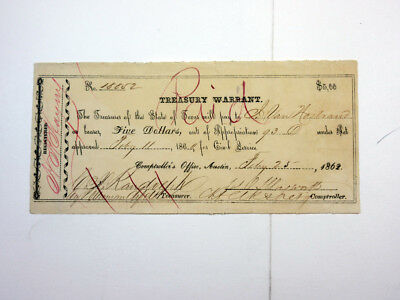 Austin, Texas 1862 $5 Treasury Warrant for Civil Service Cancelled VF