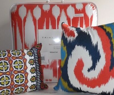 5PC TRINA TURK Hollyhock Ikat QUEEN Comforter Shams Pillows NEW Coral White