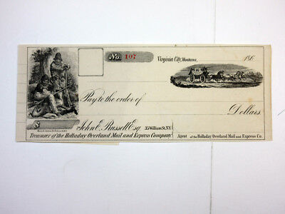 Montana Territory, 1860's Holladay Overland Mail & Express Stage Coach Check VF