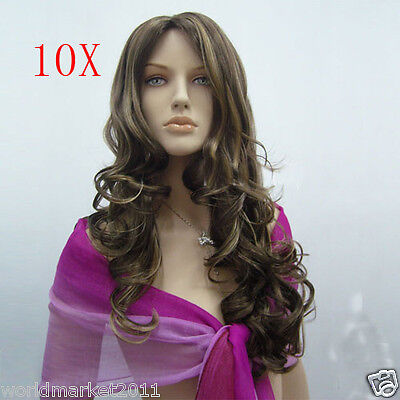 10X Fashion Centre Parting Kanekalon Flaxen Color Long Curly Big Wave Women Wig