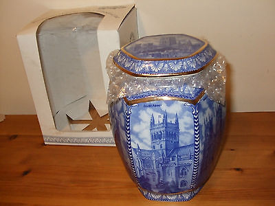 Ringtons Millennium Blue and White Cathedral Jar by Wade  Based on Maling Boxed