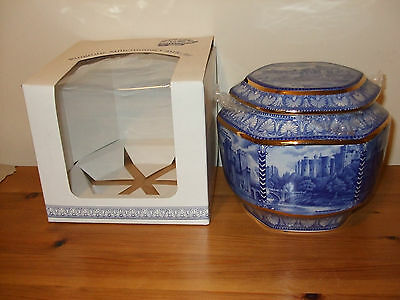 Ringtons  Millennium Blue and White Castle Jar by Wade  Based on Maling Boxed