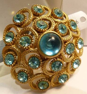 ANTIQUE 1950s BROOCH SIGNED SHPINX VINTAGE DIAMANTE GLASS & CABOCHON GLASS STONE