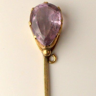 Stunning Antique 9Ct Gold & Amethyst Stick Pin