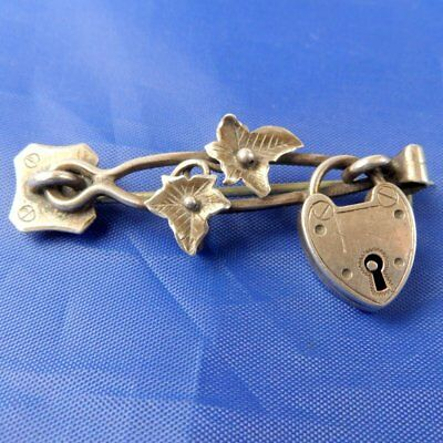 Stunning Antique 1891 Silver Lovers Locked Key To My Heart Hinge Brooch By Pp&co