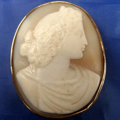 Stunning Antique 9Ct Gold Carved Shell Cameo Brooch Muse