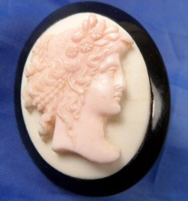 Stunning Antique Whitby Jet Carved Shell Cameo Brooch Flora