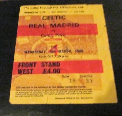 Celtic Fc V Real Madrid  Large  Home Ticket  European Cup 1980 Season