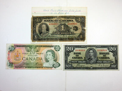 Bank of Canada Trio. 1935 $1 Repaired, 1937 $20 Coyne/Towers VF & 1979 $20 VF