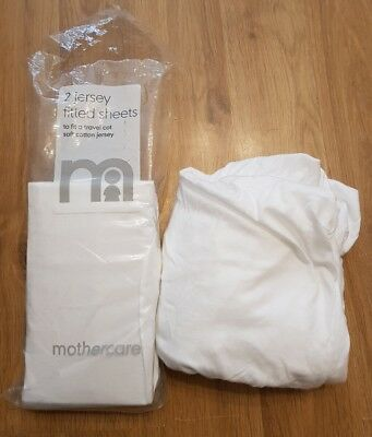 mothercare jersey fitted sheets x 2 white 67x96cm travel cot etc unisex