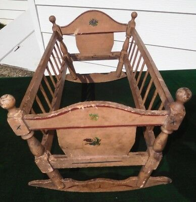 Antique Wooden Stenciled Rocker Doll Bed Cradle Crib Orig. Salmon Paint NICE!