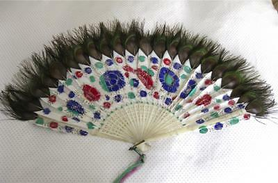 Chinese Antique Painted Feather Fan-Peacock Feathers.