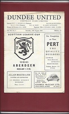DUNDEE UNITED v ABERDEEN 1963 LEAGUE CUP GOOD CONDITION