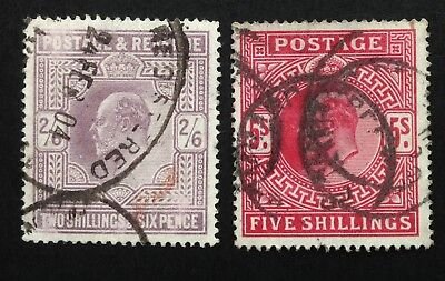 GB Edward VII 2/6 & 5/- Values Unshaded And Used (cat £350)