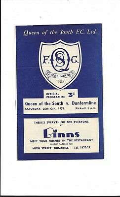 QUEEN of the SOUTH v DUNFERMLINE ATHLETIC 1958-9 LEAGUE CHAMPIONSHIP