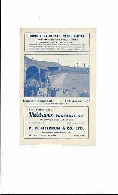 DUNDEE v KILMARNOCK 1957-8 SCOTTISH LEAGUE CUP VERY GOOD CONDITION