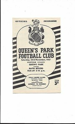 QUEENS PARK v RAITH ROVERS 1957-8 SCOTTISH LEAGUE VERY GOOD CONDITION