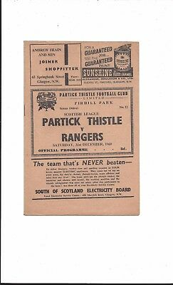 PARTICK THISTLE v RANGERS 1960-1 SCOTTISH LEAGUE VERY GOOD CONDITION