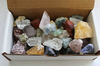 Bulk Crafters Collection Box 1.1 Lb Mix Natural Gems Crystals Mineral Rocks 500g