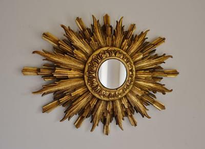 SUPERB ORIGINAL 1920s ART DECO CARVED WOOD GILDED SUNBURST MIRROR