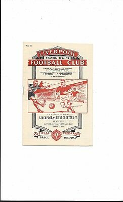 LIVERPOOL v HUDDERSFIELD TOWN 1954-5 F.A. CUP 5th ROUND VERY GOOD CONDITION