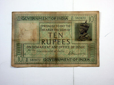 India. Government of India, ND 1917-30, 10 Rupees, Denning Sig, P-6 F/Ch.Fine