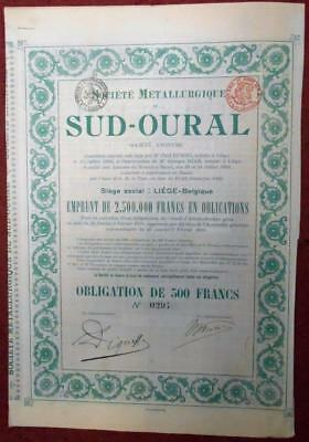 31392 RUSSIA 1898 Sud-Oural Metallurgy Society 500 Fr Bond -with coupons