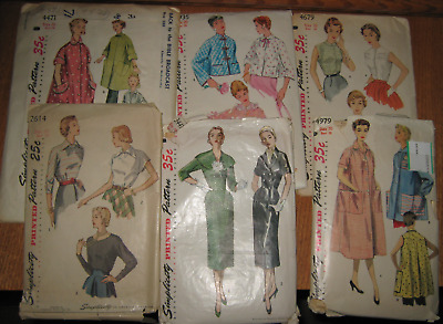 6 - 1953 Simplicity Patterns Sizes 18 & 20 Bed Jacket, Two-Pc Dress, Smocks ++