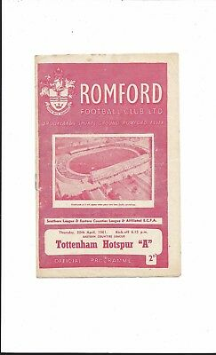 "ROMFORD v TOTTENHAM HOTSPUR ""A"" 1960-1 EASTERN COUNTIES LEAGUE GOOD CONDITION"