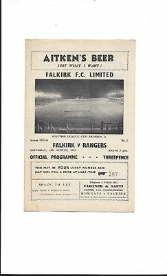 FALKIRK v RANGERS 1955-6 SCOTTISH LEAGUE CUP VERY GOOD CONDITION