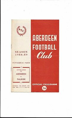 ABERDEEN v FALKIRK 1958-9 SCOTTISH LEAGUE CUP GOOD CONDITION