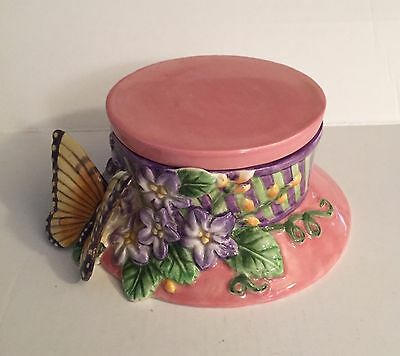 Vintage Fitz and Floyd Essentials Pink Hat Butterfly Trinket Box