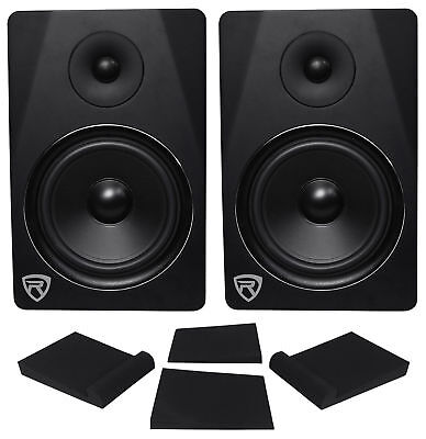 "(2) Rockville DPM8B Dual Powered 8"" 600w Active Recording Studio Monitors+Pads"