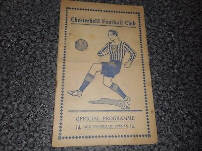 CHESTERFIELD  v  NOTTINGHAM FOREST  1937/8  APRIL 30th ***MEGA RARE  PRE-WAR***
