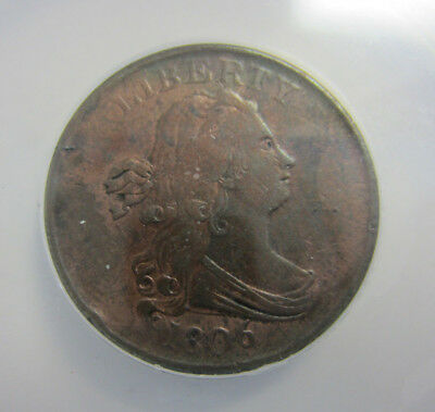 1806 1/2  Cent (Half Cent) Small 6 No Stems C-1 ANACS VF 35 -- Free Shippinng *